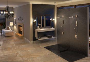 Baño Quare Design con Plato de ducha Intense y panel Space ambos en color negro